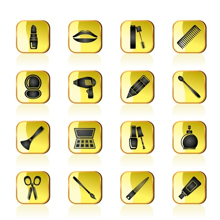 cosmetic, make up and hairdressing icons - vector icon set Stock Vector - 13387746