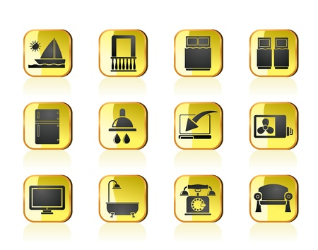 minibar: Hotel and motel room facilities icons - vector icon set Illustration
