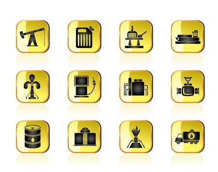 oliedrum: Olie en benzine-industrie iconen - vector icon set Stock Illustratie