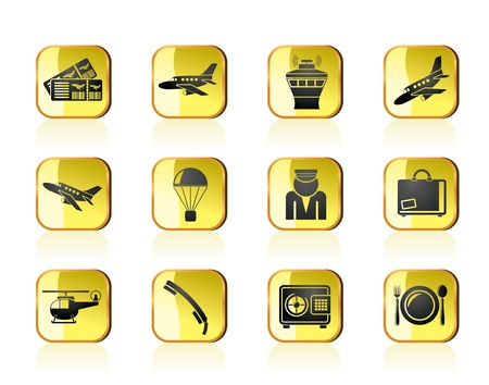 departures: Airport and travel icons - vector icon set