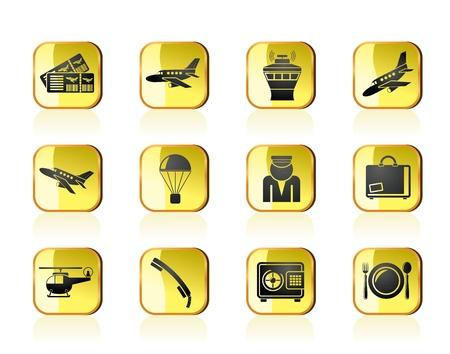 billets d avion: Ic�nes a�roport et voyage - jeu d'ic�nes vecteur