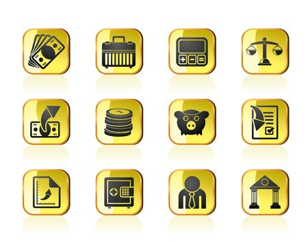 money boxes: Bank, business and finance icons - vector icon set Illustration