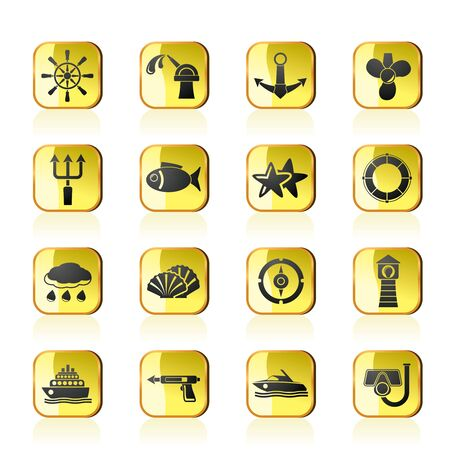 Marine and sea icons - vector icon set Vector