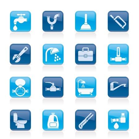 plomeria: objetos de plomer�a y los iconos de herramientas-set vector icono