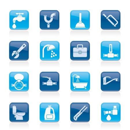water damage: plumbing objects and tools icons - vector icon set