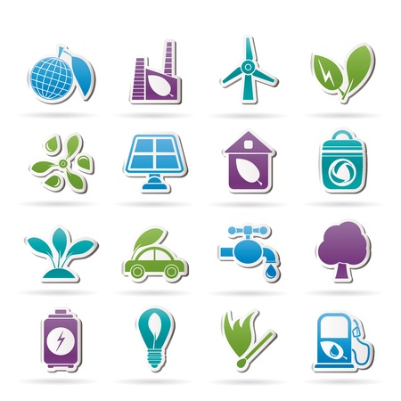 biodiesel plant: Green, Environment and ecology Icons - vector icon set