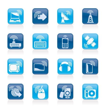 menu buttons: wireless and technology icons - vector icon set Illustration
