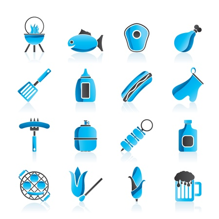 gas barbecue: Grilling and barbecue icons - vector icon set