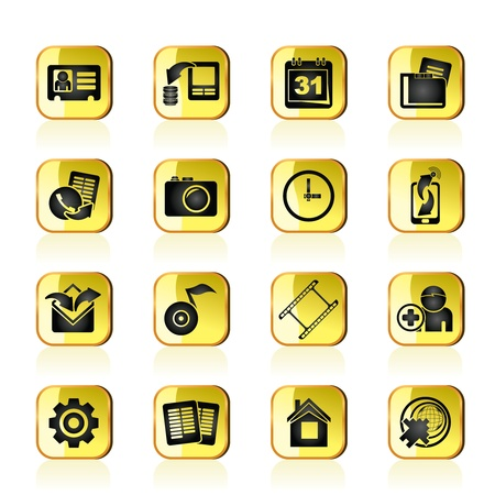 Mobile phone menu icons - vector icon set Vector