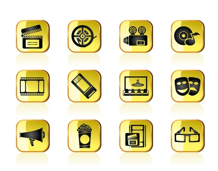 blu ray: Movie theatre and cinema icons - vector icon set