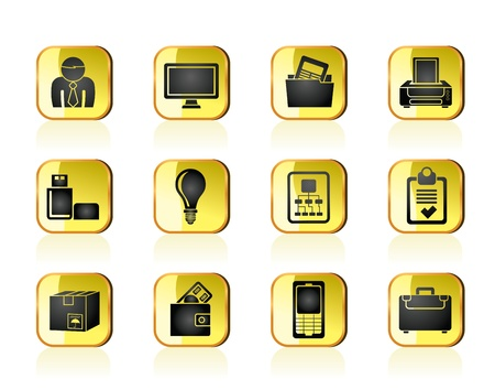 Business and office equipment icons - vector icon set Vector