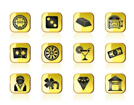 gambling chip: casino y juegos de azar iconos - conjunto de icono de vector