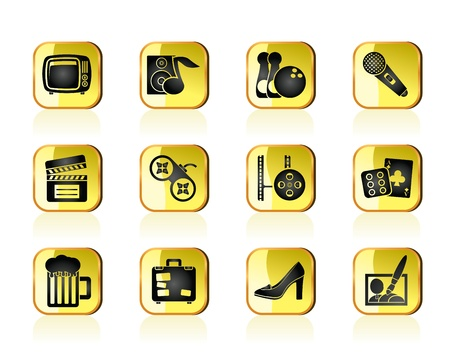Leisure activity and objects icons - vector icon set Vector