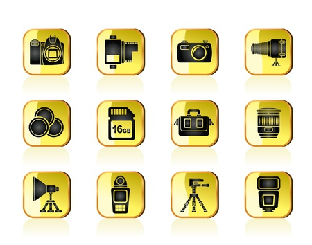 Photography equipment and tools icons - vector icon set Vector