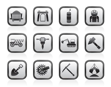 camion minero: Explotación de minas y canteras objetos de la industria y los iconos conjunto - vector icono