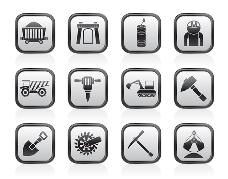 mine site: Mining and quarrying industry objects and icons - vector icon set