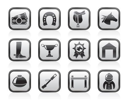 caballos corriendo: Carreras de caballos y apuestas Iconos - conjunto de icono de vector