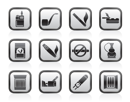 Smoking and cigarette icons - vector icon set Vector