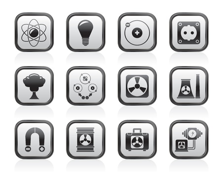 electromagnetism: Atomic and Nuclear Energy Icons - vector icon set