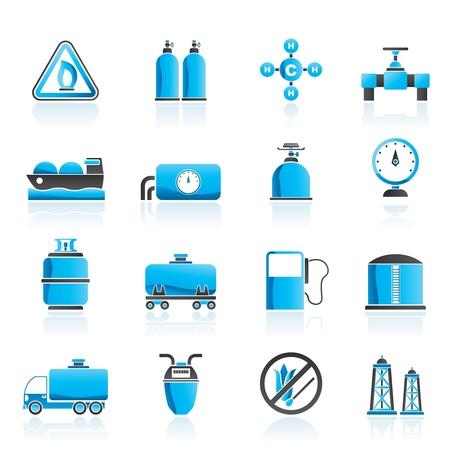 gasolinera: Los objetos naturales de gas y los iconos conjunto - vector icono