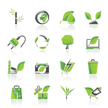 bamboo leaves: Environment and Conservation icons - vector icon set