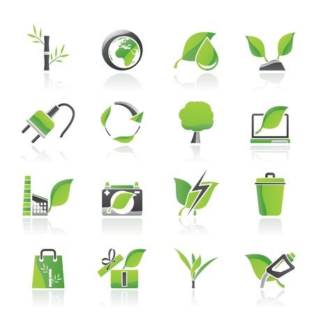plantes aquatiques: Environnement et conservation des ic�nes - jeu d'ic�nes vecteur