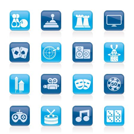 gambling chip: objetos de entretenimiento iconos - Vector Icon Set