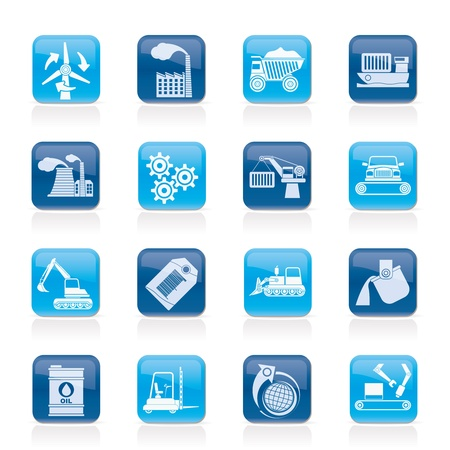 industry background: diferentes tipos de negocios y los iconos de la industria - conjunto de icono de vector