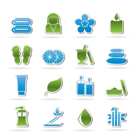 thongs: Spa objects icons - vector icon set Illustration