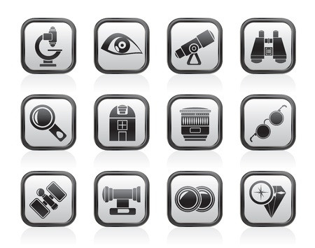 observatory: Optic and lens equipment icons - vector icon set