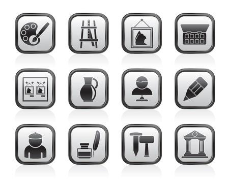 paleta de pintor: Bellas objetos de arte - iconos conjunto de vectores icono de