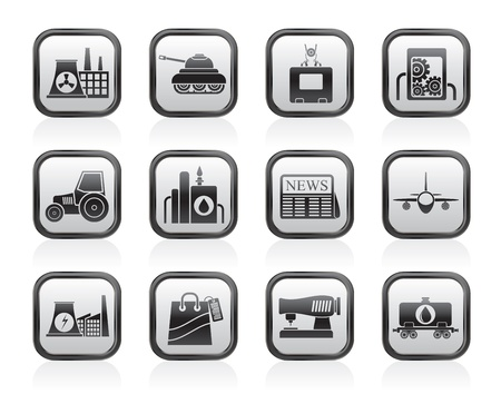 thermal power plant: De negocios y la industria iconos - conjunto de icono de vector