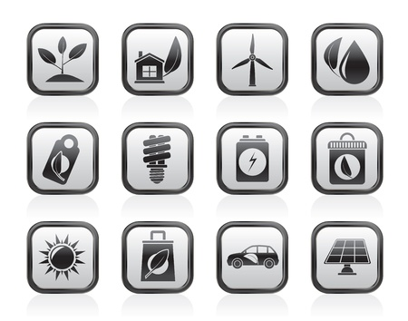 Green and Environment Icons - vector icon set Stock Vector - 13604079