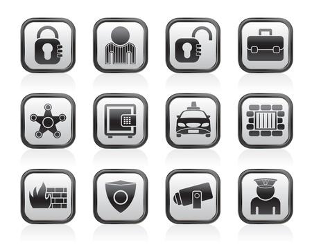 seguridad laboral: los iconos de la seguridad social y de la policía - conjunto de icono de vector Vectores