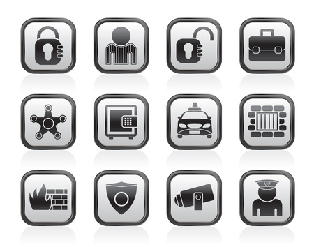 social security: social security and police icons - vector icon set