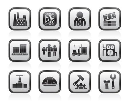 settings: Business, fabriek en molen iconen - vector icon set