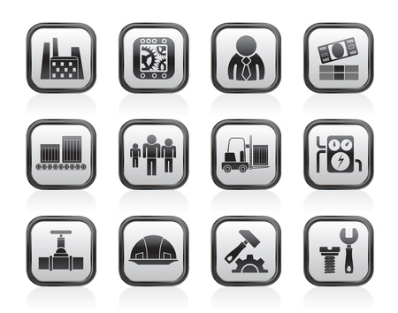 assembly line: Business, factory and mill icons - vector icon set