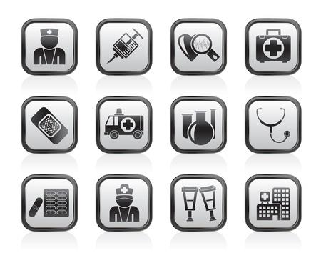 doctors and patient: Medicina y salud iconos - conjunto de icono de vector