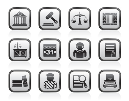 justi�a: Justice and Judicial System icons - vector icon set Ilustra��o