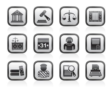 kammare: Rättsliga och rättsväsende ikoner - vektor ikonuppsättning