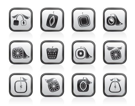 Abstract square fruit icons - vector icon set Vector