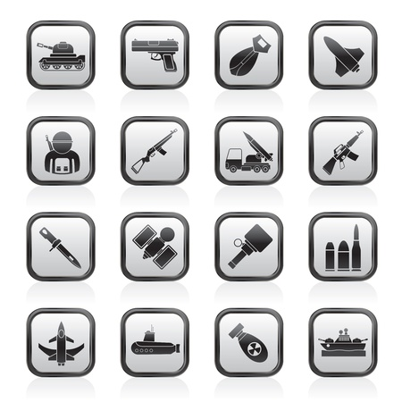 탄약: 군대, 무기 및 팔 아이콘 - 벡터 아이콘 세트