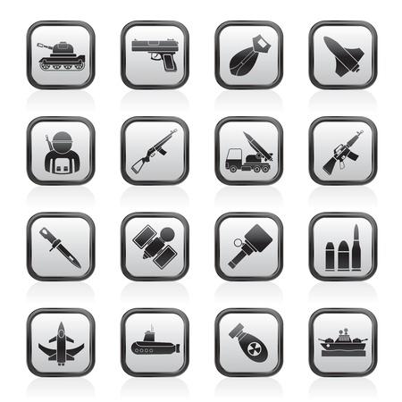 baionetta: Esercito, armi e Icone di armi - set di icone vettore
