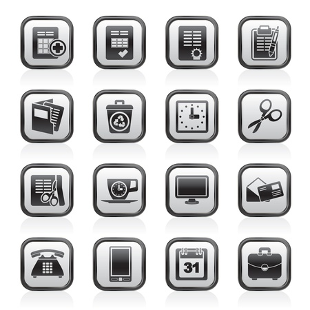 Business and office tools icons - vector icon set Çizim