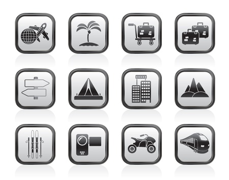 Holiday travel and transportation icons - vector icon set Stock Vector - 13604087