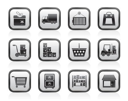 Opslag, transport, vracht-en verzendkosten iconen - vector icon set Vector Illustratie