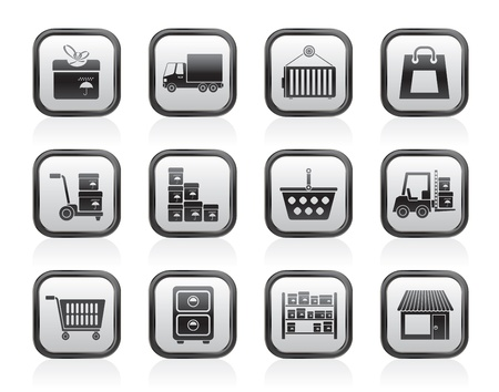 storage container: Storage, transportation, cargo and shipping icons - vector icon set