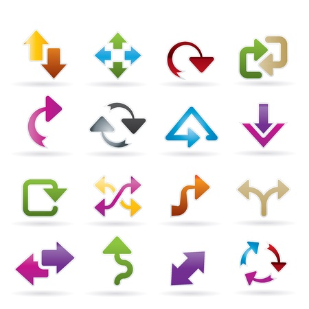 line up: different kind of arrows icons - vector icon set