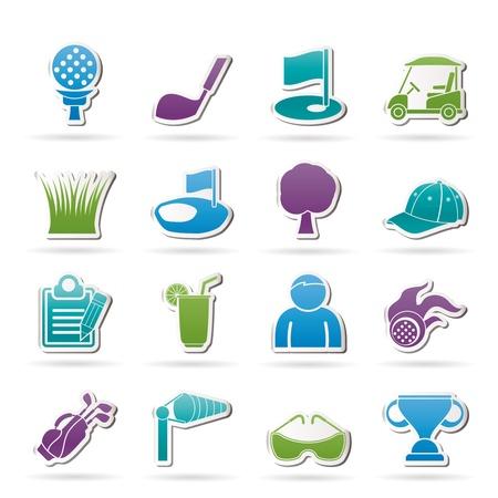 golf drapeau: ic�nes de golf et de sport - jeu d'ic�nes vecteur