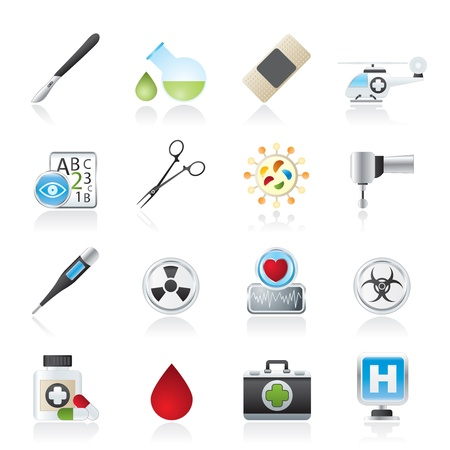 ophthalmologist: Medicine and hospital equipment icons - vector icon set